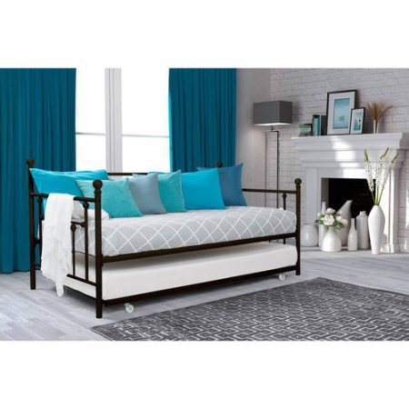 Modern Twin Size Daybed with Trundle, Multi-functional, Bedding, Living Room Furniture, Bronze Finish, Finial Detailing, Metal Frame, Bundle with Our Expert Guide with Tips for Home Arrangement
