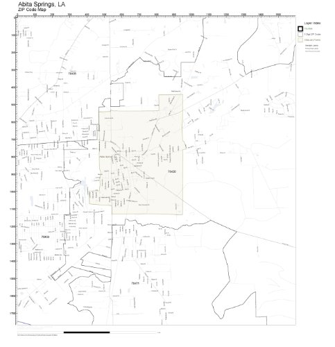 ZIP Code Wall Map of Abita Springs, LA ZIP Code Map Laminated