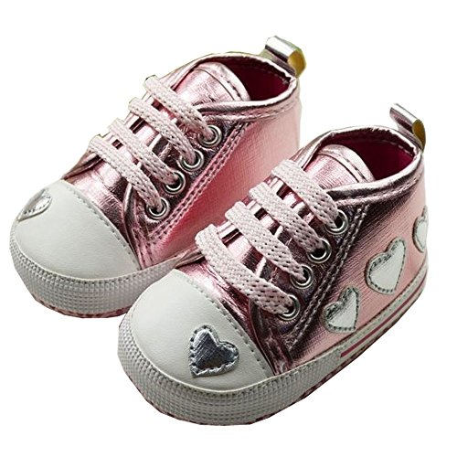 Baby Girls Sport Casual Shoes With Heart Shape Design First Walker Sneakers For Kids (13-18 months, (Pink Leopard Infant Costume)