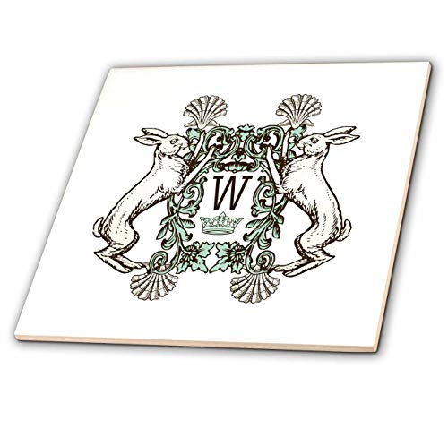 (3dRose Russ Billington Monograms - Letter W- White Rabbits Monogram with Shells and Crown - 4 Inch Ceramic Tile (ct_296765_1))