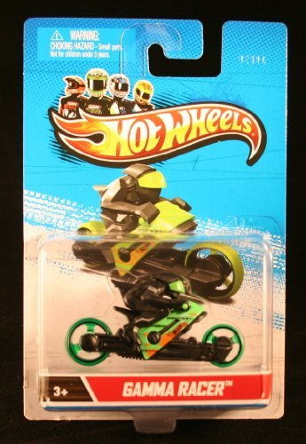GAMMA RACER (Green & Black) * MOTORCYCLE & RIDER * Hot Wheels 1:64 Scale 2012 Die-Cast Vehicle