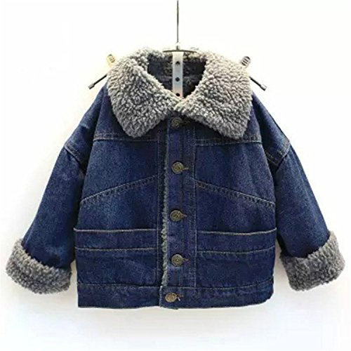 Baby Boys Girls Winter Coat Add Wool Warm Kids Jackets Babe Jeans Outwear Little Child Blue Students Clothes