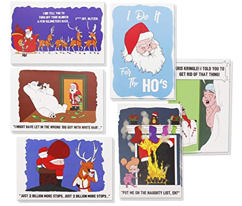 36-Pack Merry Christmas Greeting Cards Bulk Box Set - Inappropriate Offensive Winter Holiday Xmas Greeting Cards with Funny Comic Illustrations, Envelopes Included, 4 x 6 Inches
