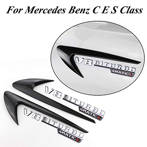 (Jcsportline Fits for Mercedes Benz C E S Class Side Fender Vents Trims Fins Decoration with Polished V8 Mark (Look Carbon))