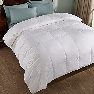 All Season White Down Comforter/Duvet, 600 Fill Power, 100% Cotton Cover, White, King Size