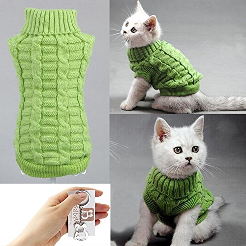 Bolbove Cable Knit Turtleneck Sweater for Small Dogs & Cats Knitwear Cold Weather Outfit (Green, Medium) (Take The Cat And Leave My Sweater)