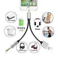 Lightning to 3.5mm Audio Headphone Jack Adapter Splitter for iPhone 7/7Plus 8/8Plus Lightning 3.5mm Aux Earphone Jack Audio Charge Adapter iPhone accessories converter Support iOS 10.3/11 from turelar