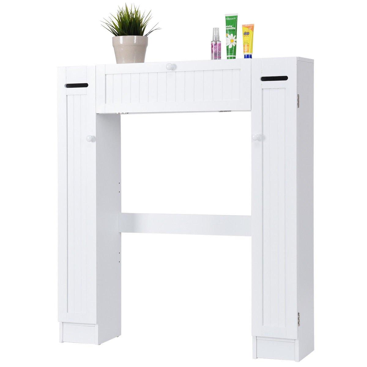 Over The Toilet Storage Wooden Cabinet Drop Door Spacesaver Bathroom White