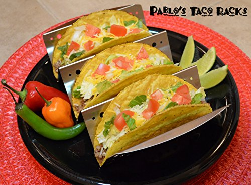 Taco Holder with Handles for Hard or Soft Tacos - Stainless Steel Large Racks - Set of 2 Restaurant Grade Quality Taco Truck Stands Oven Safe by Elite Homeware (Image #3)