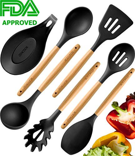 Premium Cooking Utensils Set - 100% Eco-friendly Silicone Wooden Healthy Kitchen Utensils - Best Home Cooking Utensils - Nonstick Heat Resistant Wooden Spoons - Cooking Utensils for Women Men Gray