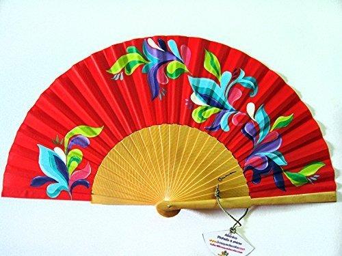 Abanico español pintado a mano con funda a juego