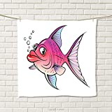 smallbeefly Fish Hand Towel Cartoon Style Smiling Female Goldfish with Plump Lips Underwater Comic Quick-Dry Towels Hot Pink Fuchsia Purple Size: W 20'' x L 31''