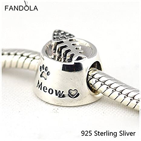 48e466656 Image Unavailable. Image not available for. Color: Beads Fits Pandora  Bracelets 100% 925 Sterling Silver Jewelry Cat Bowl ...