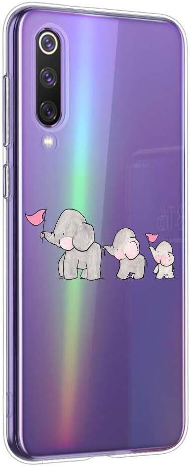 Oihxse Animal Serie Case Compatible con Xiaomi Mi CC9/A3 Lite/Xiaomi Mi 9 Lite Funda Transparente Suave Silicona Elefante Conejo Patrón Protector Carcasa Ultra-Delgado Creativa Anti-Choque Cover (A6)