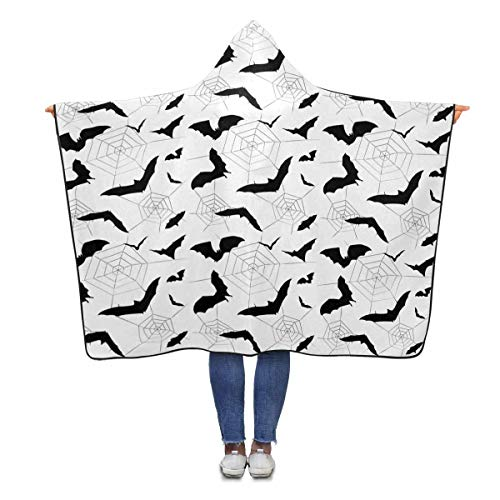 InterestPrint Halloween Spiders Bat Wearable Hooded Blanket 80 x 56 inches Adults Girls Boys Throw Polar Fleece Blankets Wrap (Halloween 56 Spider)