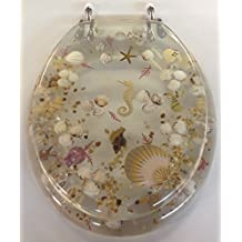 Elongated Clear Seashell and Seahorse Resin Toilet Seat, Chrome Hinges