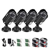 ZOSI 4PK 1280TVL 4-in-1 HD TVI/CVI/AHD/CVBS Security Camera 3.6mm Lens 24 IR-LEDs CCTV Camera Home Security Day/Night Waterproof Camera for 960H/ 720P / 1080N / 1080P Analog DVR Systems