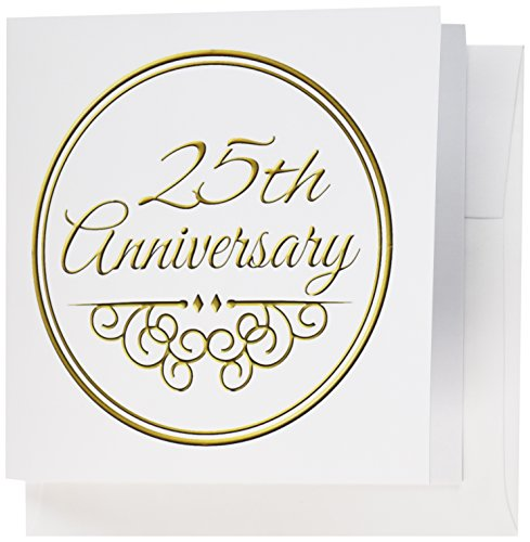 3dRose 25th Anniversary gift - celebrating wedding anniversaries - 25 years married together - Greeting Cards, 6 x 6 inches, set of 6 (gc_154467_1) 25 Year Anniversary Invitations
