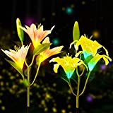 Solar Flower Lights, YUNLIGHTS 2Pcs Solar Garden Decorations Lights Outdoor Patio Stake Lights Lily Flower Lamp Multi-Color Changing Yard Lawn Decoration Decor