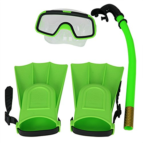 Herbalcandybox Children Kids Swimming Diving Snorkel Breathing Tube Fins Scuba Eyeglasses Set,Green