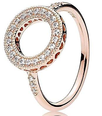 1056f57cb Amazon.com: Hearts of PANDORA Halo Ring, PANDORA Rose & Clear CZ ...
