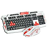 Nanle Intelligent Power Saving Wireless Keyboard Mouse HK8100 Wireless Multimedia Gaming Keyboard + 2.4GHz 4 Buttons Mouse Set Black&Blue (Color : Style A)