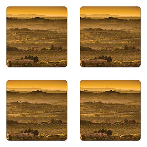Lunarable Tuscan Coaster Set of Four, Field Sunlight Hillside Autumn Hues Pastoral Scrubs, Square Hardboard Gloss Coasters for Drinks, Taupe Dark Khaki and Pale Earth Yellow