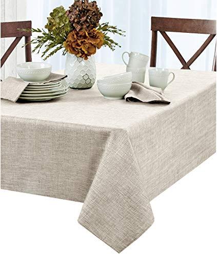 (Newbridge Penington Solid Woven No-Iron Soil Resistant Fabric Tablecloth - 60 X 120 Oblong - Ivory )