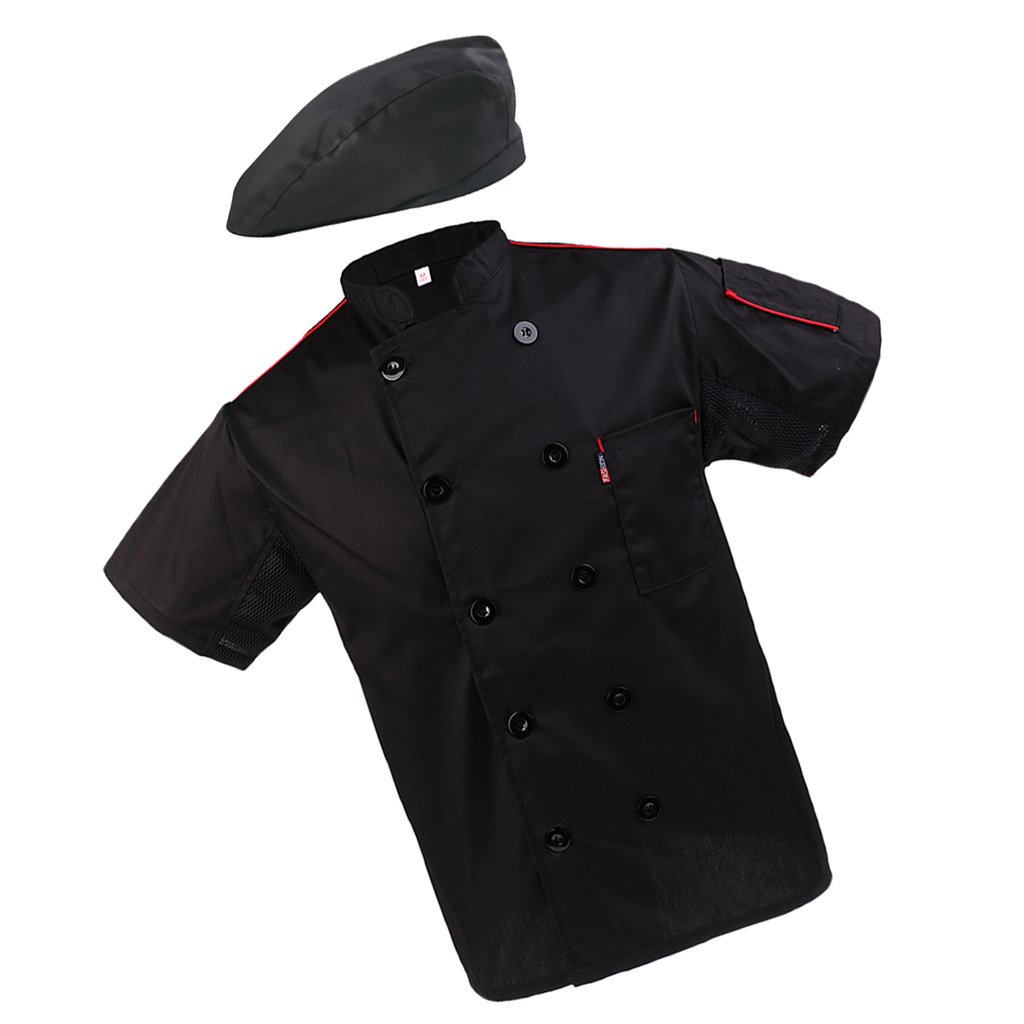 MagiDeal Fashion Beret Chef Hat Chef Coat Jacket Net Short Sleeve with Pen Pockets Chef Wear Professional Kitchen Uniforms M