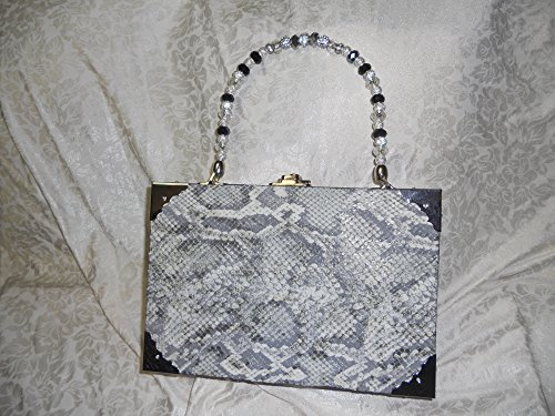 Cigarbox Purse,Embossed Snakeskin leather, Grey/Silver tones, black, white, Tina Marie Purse, Vintage Cigar (Purse Cigar Box Purses)
