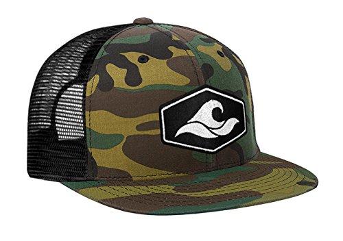 Joe's USA Koloa Surf Hexagon Patch Logo MESH Snapback Hat-CamoBlackMesh