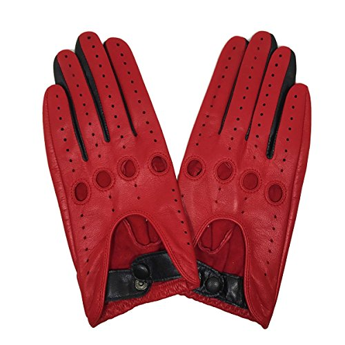 Ladies Leather Driving Gloves (MATSU Classic Women Driving Lambskin Unlined Thin Leather Gloves Open Back M9237 (M, Red+Black-9507))