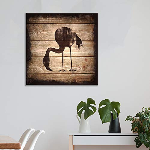 Square Flamingo Silhouette on Rustic Wood Board Texture Background