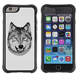 ZAKO Cases / Apple Iphone 6 PLUS 5.5 / Laughing Wolf / Robusto Prueba de choques Caso Billetera cubierta Shell Armor Funda Case Cover Slim Armor
