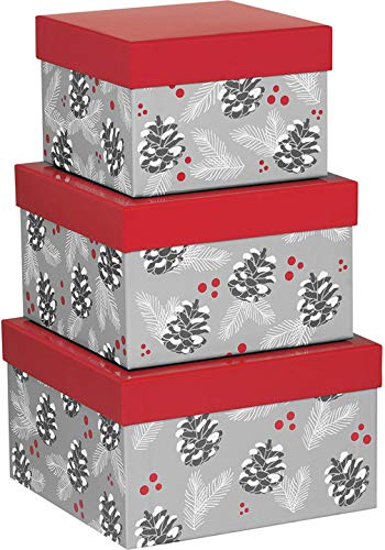 Rustic Pearl Collection Christmas Nested Gift Boxes with Lids, Set/3 - Silver Pine Cone and Red Berries -
