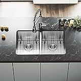 VIGO VG2918K1 29-Inch Under-Mount Stainless Steel 16-Gauge Double Bowl Kitchen Sink, Grids and Strainers