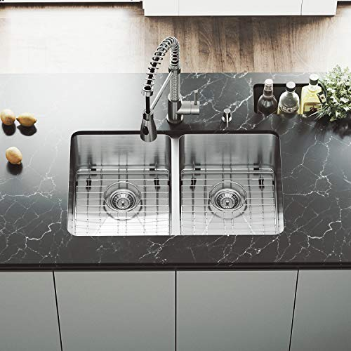 VIGO VG2918K1 29 Inch Undermount 16 Gauge Double Bowl Stainless Steel Commercial Grade Kitchen Sink with Two Grids and Strainers, Rounded Corners and SoundAbsorb Technology (Vigo Double Bowl Sink)