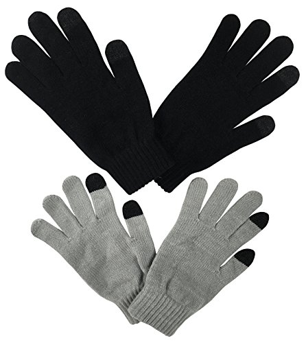N'Ice Caps Men's Magic Stretch Touchscreen Knit Gloves - 2 Pair Pack