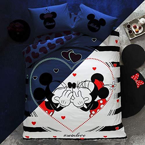 TAC 100% Cotton Double Queen Size Bedding Set Duvet Quilt Cover Set Mickey Minnie Mouse soinlove
