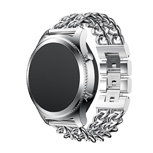 Vovomay Accessories Stainless Steel Band for Samsung Gear S3 Frontier,Bracelet Strap Band (Silver)
