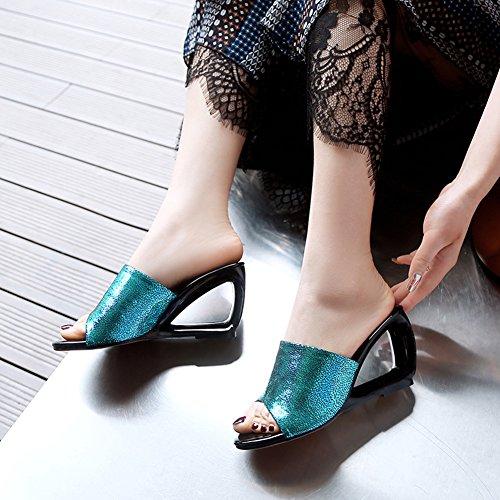 Vestito Scivola Alto Pantofole Brillante Sandali A Jamron Mules Donne Sexy Zeppa Montone Turchese Tacco YwHpxvaZq