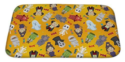 Gear New Bath Mat for Bathroom, Memory Foam Non Slip, Cartoon Halloween Holiday Monster Pattern, 34x21, 6076198GN