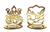 Satyam Kraft ( Pack of 2 ) Ganesh Ji and Lakshmi ji Shadow diya tealight candle holder stand for Pooja and Decorative/Gift/Diwali gift/Diwali Decor/wedding gift/Diwali Diya