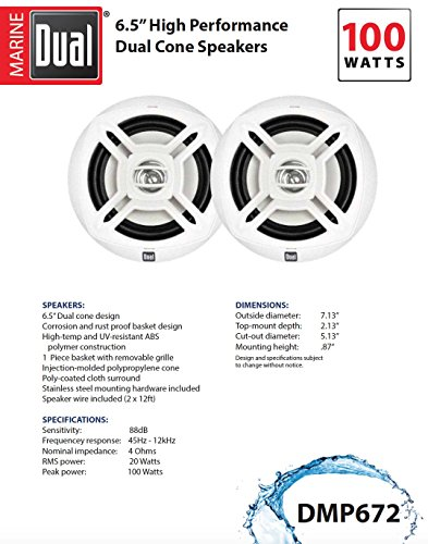 Dual Electronics DMP672 Two 6.5 inch Water Resistant Dual Cone High Performance Marine Speakers with 100 Watts of Peak Power by Dual Electronics (Image #3)