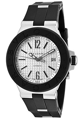 Bulgari-Dg40c6svd-Mens-Diagono-Automatic-Black-Rubber-Silver-Tone-Dial-Watch