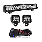 2012 4runner bull bar - 20 INCH LED Light Bar 2PCS 4Inch Spot Pods Cubes with Rocker Switch Wiring Harness for Jeep Ford F150 Toyota Tacoma GMC Chevy ATV,1Years Warranty