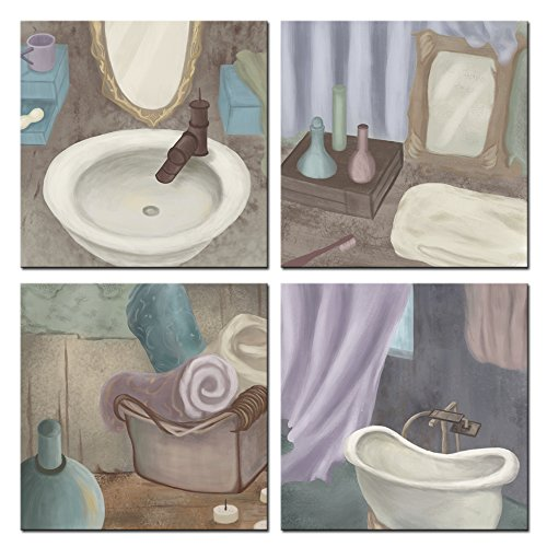 "Sea Charm - Bathroom Pictures Wall Decor Vintage Classic Elegant Bath Tub Art Prints Still Life Scenes Painting Giclee Artwork Stretched Framed Ready to Hang (12""x12""x4pcs)"