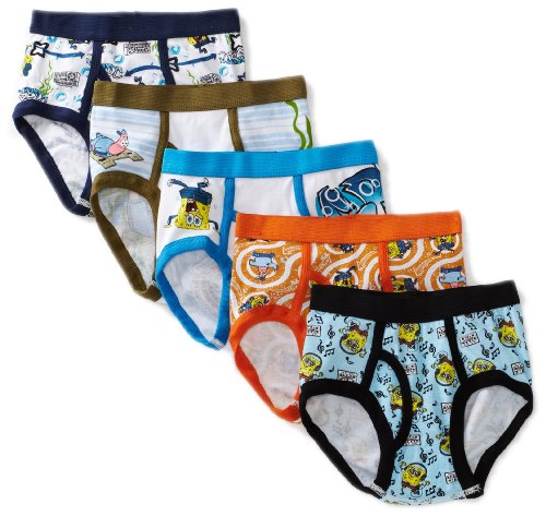 Nickelodeon Little Boys' SpongeBob  Brief (Pack of 5), Multi, 4 -