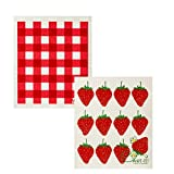 Wet-It Swedish Dishcloth Set of 2 (Strawberries and Plaid)