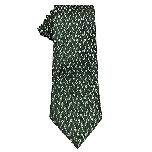 Mens Woven Neckties Design Tie Holiday Christmas Gift Forest Green Neck Tie (Candy Cane) -
